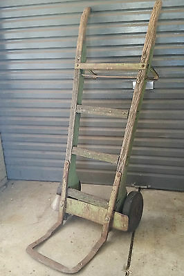 Vintage Industrial wooden Railway luggage Trolley GARDEN ORNAMENT old