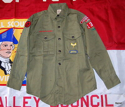 LONG SLEEVE BOY SCOUT UNIFORM  SHIRT WITH INSIGNIA - c.1960's