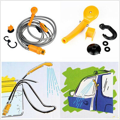 12V Electric Car Plug Outdoor Camper Camping Travel Shower Pipe Shower Head Kit