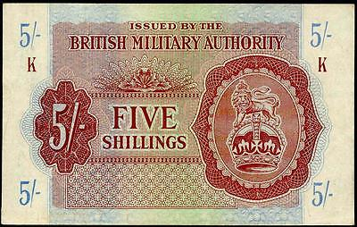 """British Military Authority 5 Shillings 1942- 44  Vf+ Serie """"k"""" Occupation Note"""