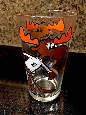 Warner Bros. 1973 PEPSI COLA Collector Series Glass BULLWINKLE black lettering