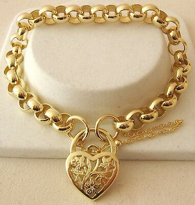 GENUINE SOLID 9K 9ct Yellow Gold ROUND BELCHER Padlock Bracelet