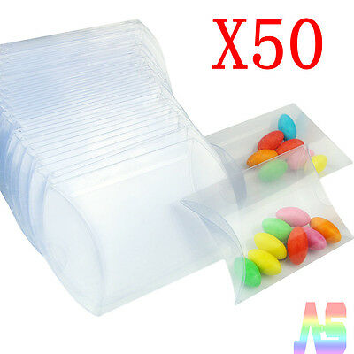 50pcs PVC Pillow Style Plastic Candy Box Chocolate Sweet Wedding Party Favor Box