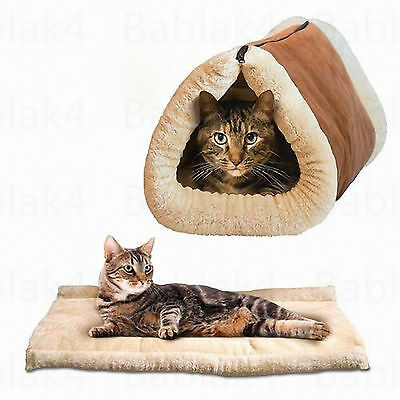 Pet Cat Puppy Nest Bed Soft Warm Cave House Sleeping Bag Mat Pad UK