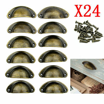 24X Kitchen Cupboard Cabinet Cup Drawer Furniture Shell Pull Iron Handle&Screw