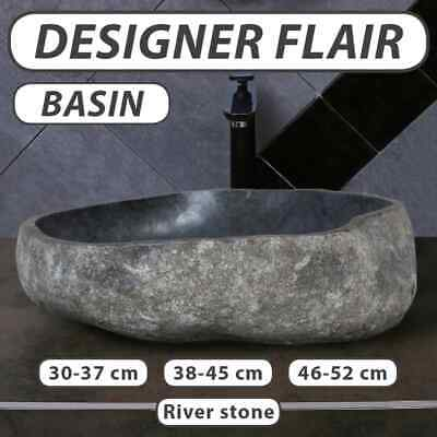 vidaXL Wash Basin Natural River Stone Oval Bathroom Sink Bowl Multi Choice