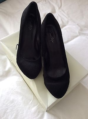 Women's Miss Shop Velvet Look Black Wedge Shoes Size 7