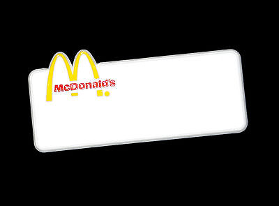 McDonald's Fast Food Restaurant Employee Crew Name Tag Uniform Badge Pin Back