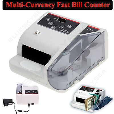 Portable V10 600 bills/M Bank Note Multi-currency Bill Counter Machine 100-240V