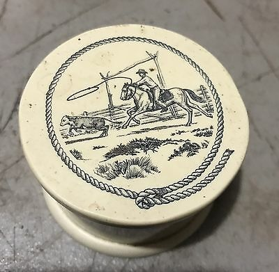 Scrimshaw Hawaiian Paniolo Cowboy Design On Lid. Cup & Lid.