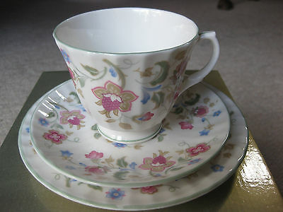 "DUCHESS BONE CHINA TEA CUP, SAUCER AND PLATE, 3 piece set in ""JACOBEAN"" design"