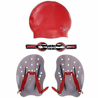 Performance Training Pack High Quality Goggles Paddles Swimming Cap Dark Grey