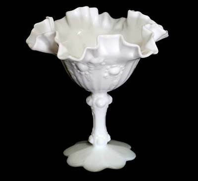 Vintage white milk glass ruffle edge comport pedestal bowl in lovely condition