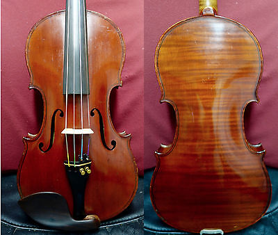 4/4 Herman Fiedler Violin Old Fine Full Size case  bow 1 piece back Watch Video