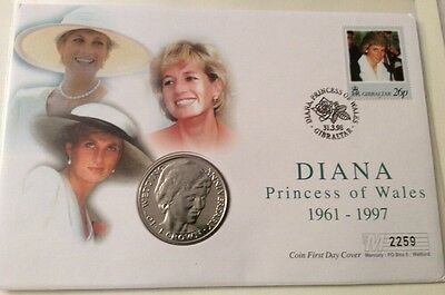Gibraltar 1 Crown Coin Princess Diana's 10th Wedding Anniversary & 26p Stamp