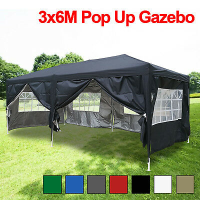 3x6m Pop Up Gazebo Marquee Outdoor Garden Party Tent Canopy with Sides and Bag