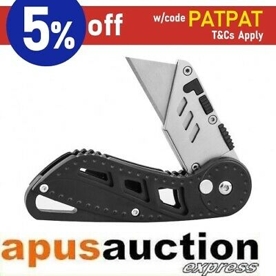 Stainless Steel Retractable Folding Utility Knife Box Cutter with Clip Camping