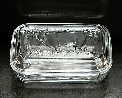 Vintage French Arcoroc Glass Butter Cheese Dish With Lid In Excellent Condition