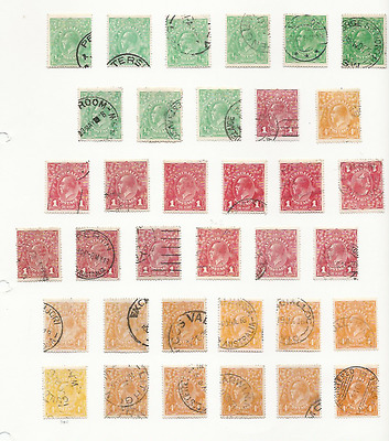 AUSTRALIA 1914-20 ½d (9), 1d (13), 4d (13) SHADES, WMKS, DIES ETC ALL FU