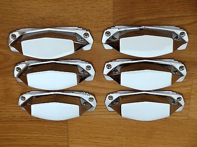 6 X Chrome Art Deco Door Or Drawer Pull Cup Handles Cupboard Furniture Knobs