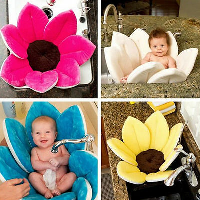 New Baby Bath Mat Flower Shape Blooming Super Soft Plush Lotus Bathing Tube AU