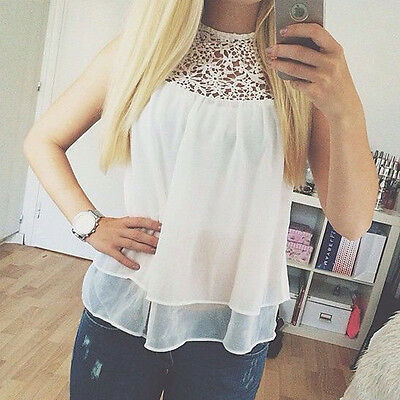Women's Lady Loose Sleeveless Chiffon Casual Blouse Shirt Tops Fashion Blouse