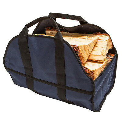 Portable Fireplace Firewood Caddy Tote Bag Carrier Holder Fire Wood Log Canvas