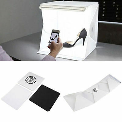 "Photography Tent Kit LED Mini Photo Studio 9"" Backdrop Cube Box Light Room"