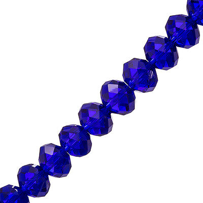 """Faceted Crystal Rondelle Glass Beads Dark Blue 8x12mm 8"""" Strand (P39)"""