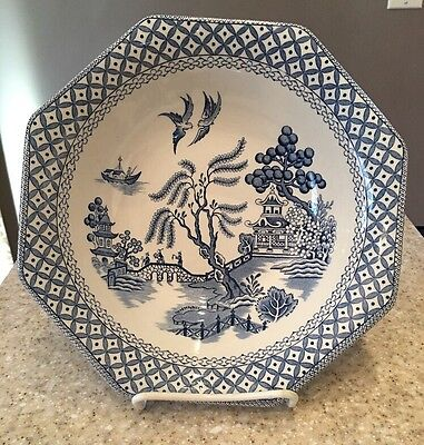 """Staffordshire Royal Blue Willow Serving Bowl Ironstone Octagon JG Meakin 8 1/2"""""""