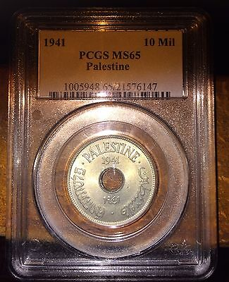 Israel Palestine Coin 10 Mils 1941 Ms 65 Pcgs Rare Year!!