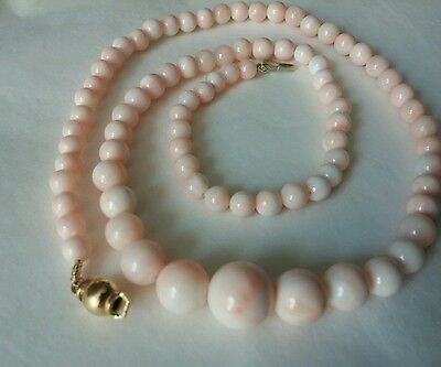 Natural pink coral, angel skin necklace 10.8 to 5mm 172.50 ct  gold  18k*