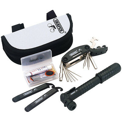 Draper Bicycle Cycle Bike Tool Kit Puncture Repair Pump Multi-Tool Lever Pouch