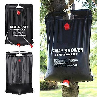 UK 20l Solar Power Shower Camping Water Portable Sun Compact Heated Outdoor