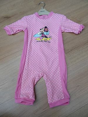 Baby Girls Age 18-24 Months Minnie Mouse Uv Safe Sun Swim Suit Costume Pink 50+
