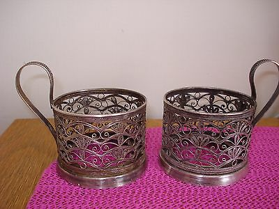 USSR Russian Tea Cup Glass Holder USSR 1970s 80s,2 pcs