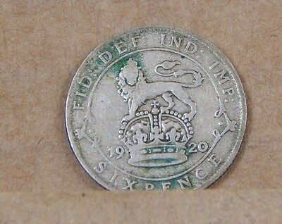 1920 George V Sixpence  coin 50% silver coin  Div 1