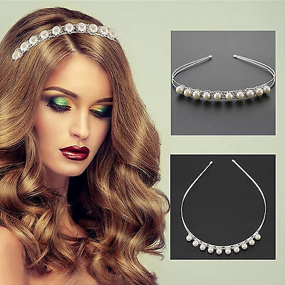 Bridal Plating Silver Pearl Headband Tiara Crystal Rhinestone Crown Band Wedding