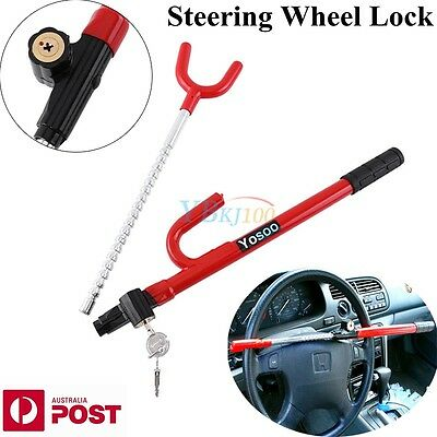 New Vehicle Steering Wheel Universal Car Anti-Theft Safety Lock  W/ 2 Keys Red