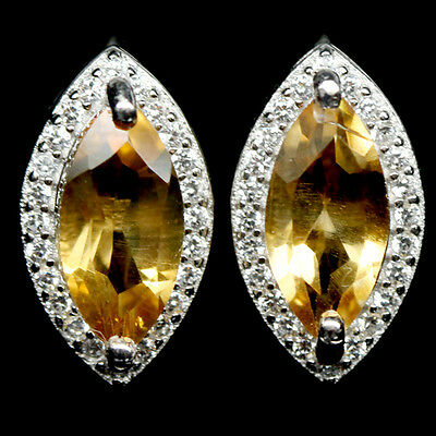 Alluring! Natural! Golden Yellow Citrine & White Cz Sterling 925 Silver Earrings