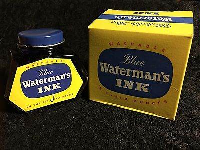 Vintage Waterman's Ink 2 oz. Washable Blue  New Old Stock Excellent Condition!