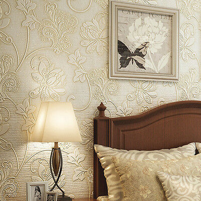 3D Wallpaper Embossed Bedroom Large Nonwovens Background Brick Stone Style