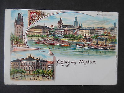 1900s Gruss aus Mainz Germany Steamers & Theater Postcard