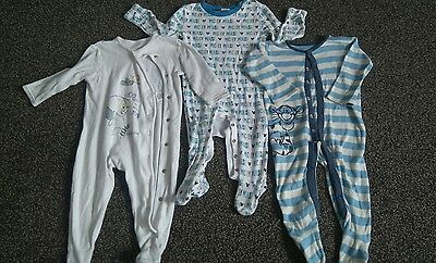 Three baby boys sleepsuits 6-9 months