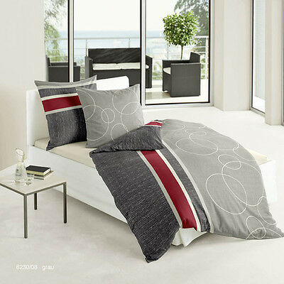 4 tlg bierbaum mako satin bettw sche 135x200 cm b ware kreise grau rot 518 eur 17 50 picclick de. Black Bedroom Furniture Sets. Home Design Ideas