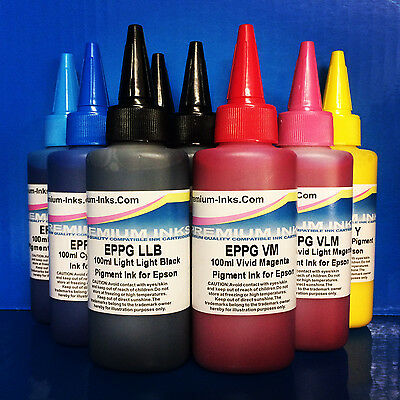 900ml PIGMENT PRINTER INK REFILL BOTTLES FITS EPSON STYLUS PHOTO R3000 R 3000