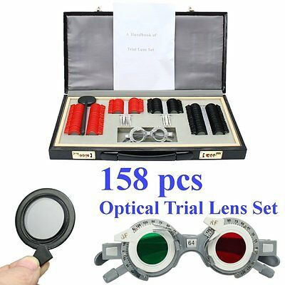 158 pcs Optical Trial Lens Set Metal Rim Leather Case & 1 Free Trial Frame
