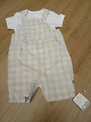 Baby Boys Bnwt Mothercare Age 6-9 Months Short Dungaress + Summer Vest Outfit