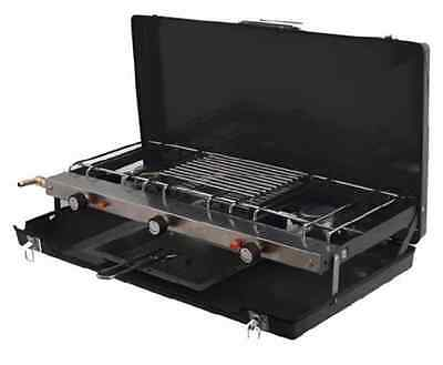 PORTABLE DOUBLE GAS COOKER HOB stove GRILL camping 2 burner