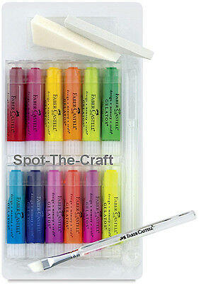 NEW ✿ Faber Castell Gelatos Brights Kit ✿ 12 Permanent Colours ✿ Brush 2 Sponges